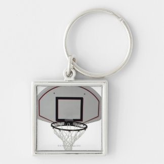 Basketball hoop with backboard Silver-Colored square keychain