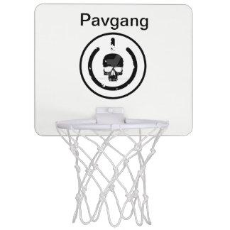 Basketball hoop with pavgang and logo on it