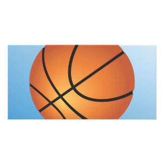 Basketball Icon Blue Background Personalized Photo Card