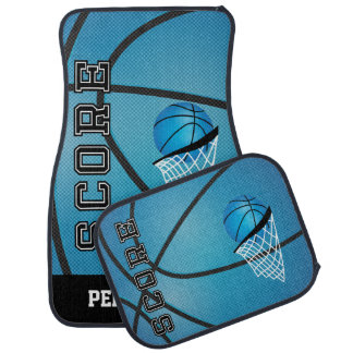 Basketball in a Sporty Blue Style | Personalize Car Mat