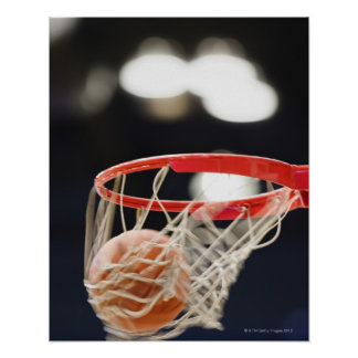 Basketball in basket. poster