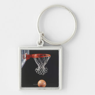 Basketball in hoop, close-up 2 key chain