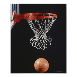 Basketball in hoop, close-up 2 poster
