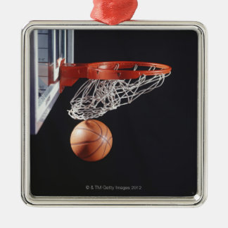 Basketball in hoop, close-up Silver-Colored square ornament