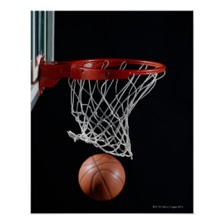 Basketball in Hoop Poster