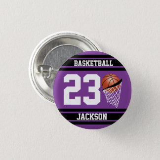 Basketball in Purple and Black 1 Inch Round Button