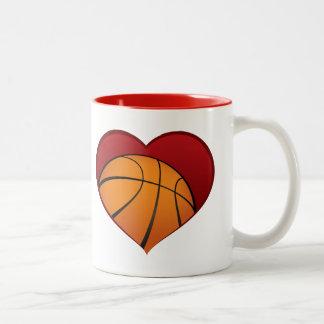 Basketball Inside Heart Two-tone Mug
