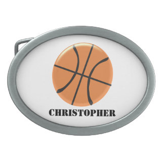 Basketball Just Add Name Oval Belt Buckle
