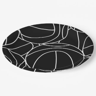 Basketball lines paper plate