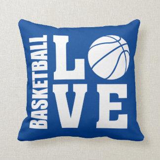 Basketball Love Blue Throw Pillow