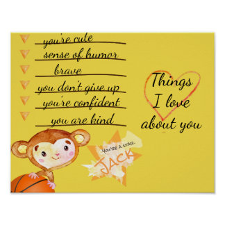 Basketball Monkey Things I Love About You Poster