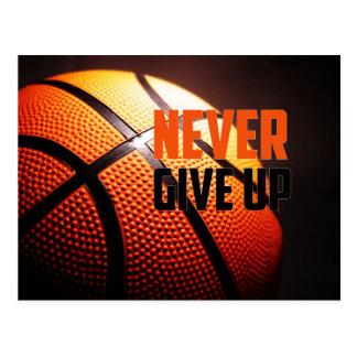 Basketball motivation - never give up by storeman postcard