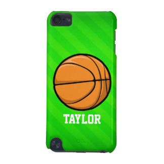 Basketball; Neon Green Stripes iPod Touch (5th Generation) Case