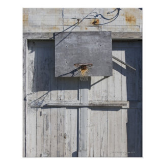 Basketball net on rustic building poster