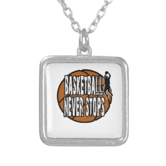 Basketball never stops silver plated necklace