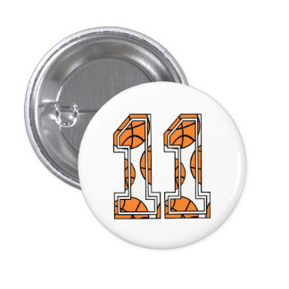 Basketball Number 11 on White Pinback Button