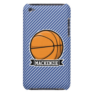 Basketball on Blue & White Stripes Barely There iPod Case