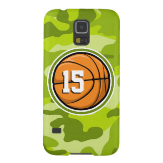 Basketball on bright green camo camouflage cases for galaxy s5
