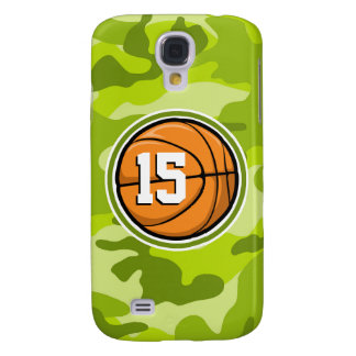 Basketball on bright green camo camouflage samsung galaxy s4 case
