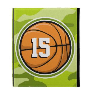 Basketball on bright green camo camouflage iPad folio cover