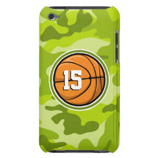 Basketball on bright green camo, camouflage barely there iPod cover