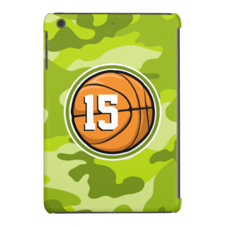 Basketball on bright green camo camouflage iPad mini case