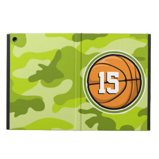 Basketball on bright green camo camouflage case for iPad air