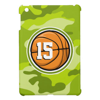 Basketball on bright green camo camouflage cover for the iPad mini