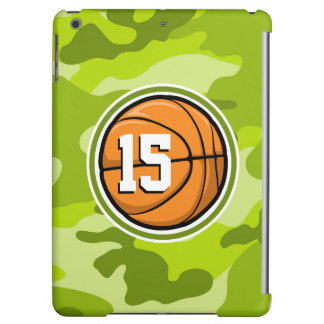 Basketball on bright green camo camouflage cover for iPad air