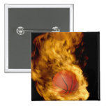 Basketball on fire (digital composite) 2 inch square button