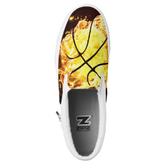 Basketball On Fire Flames Lava Slip On Sneakers
