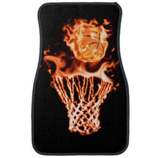 Basketball on fire going through the fire net car mat