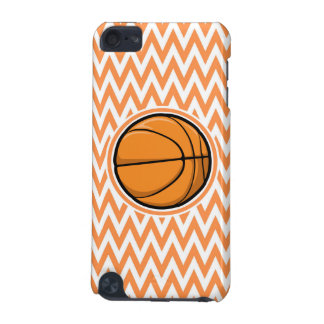 Basketball on Orange and White Chevron iPod Touch 5G Covers