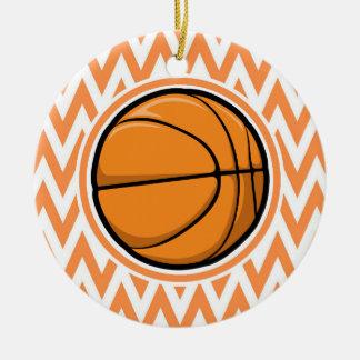 Basketball on Orange and White Chevron Ceramic Ornament