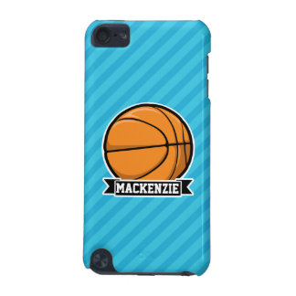 Basketball on Sky Blue Stripes iPod Touch (5th Generation) Cover