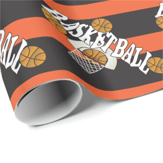 Basketball Orange Black Wrapping Paper