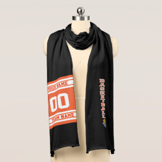 Basketball Orange & White - DIY Name, Number, Team Scarf