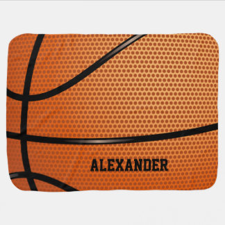 Basketball Pattern Name Customize Baby Blanket