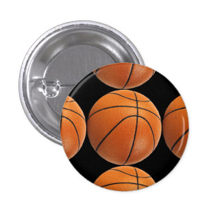 Basketball Pattern on Black 1 Inch Round Button