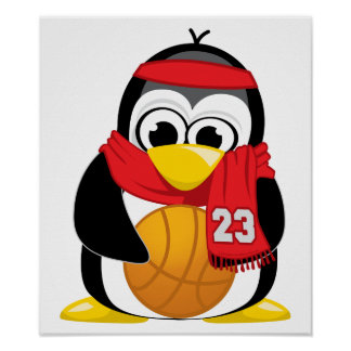 Basketball Penguin Scarf Poster