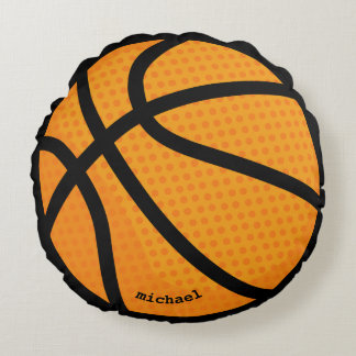 Basketball personalised name round pillow