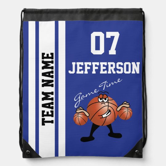 Basketball Personalize Team Dark Blue Cinch Bags