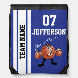 Basketball Personalize Team Dark Blue Drawstring Bag