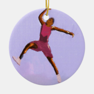 Basketball Play Art Round Ceramic Ornament