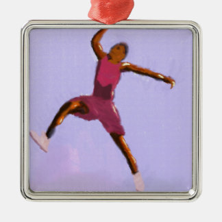 Basketball Play Art Silver-Colored Square Ornament