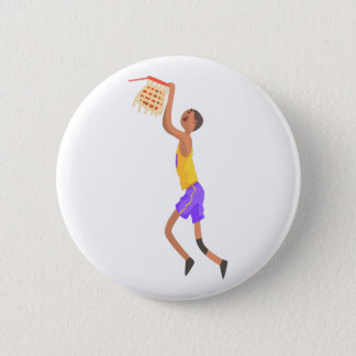Basketball Player Hanging On Goal Action Sticker 2 Inch Round Button