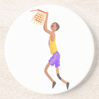 Basketball Player Hanging On Goal Action Sticker Coaster