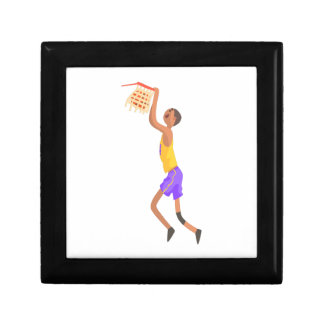 Basketball Player Hanging On Goal Action Sticker Gift Box