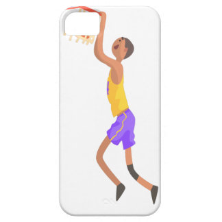 Basketball Player Hanging On Goal Action Sticker iPhone 5 Case