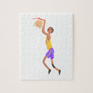 Basketball Player Hanging On Goal Action Sticker Jigsaw Puzzle